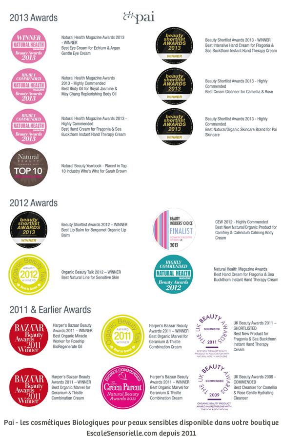 Pai cosmétiques récompenses awards